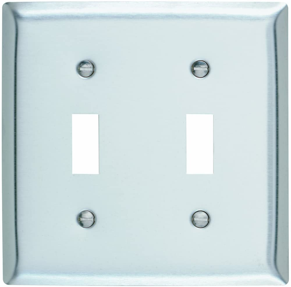 Legrand - Pass & Seymour SL2CC10 Stainless Steel Wall Plate Two Toggle 430 Easy Install