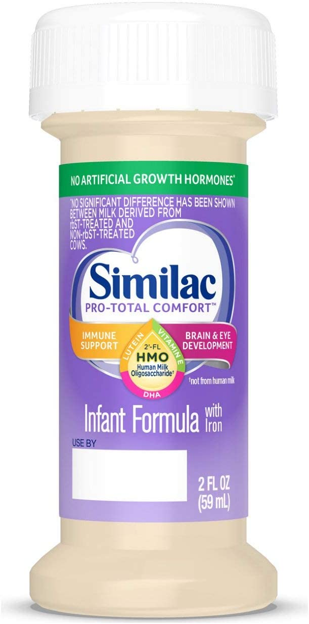 Similac Pro-Total Comfort Infant Formula Opti-GRO, Non-GMO, Easy-to-Digest, Gentle Formula, with 2'-FL HMO, for Immune Support, Baby Formula, Ready to Feed, 2 fl oz, 48 Count
