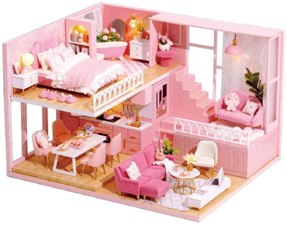 Dollhouse Miniature with Furniture DIY Dollhouse Kit House Model with Music Movement and Light Room Idea Handcraft Birthday Gift Home Ornaments Decoration
