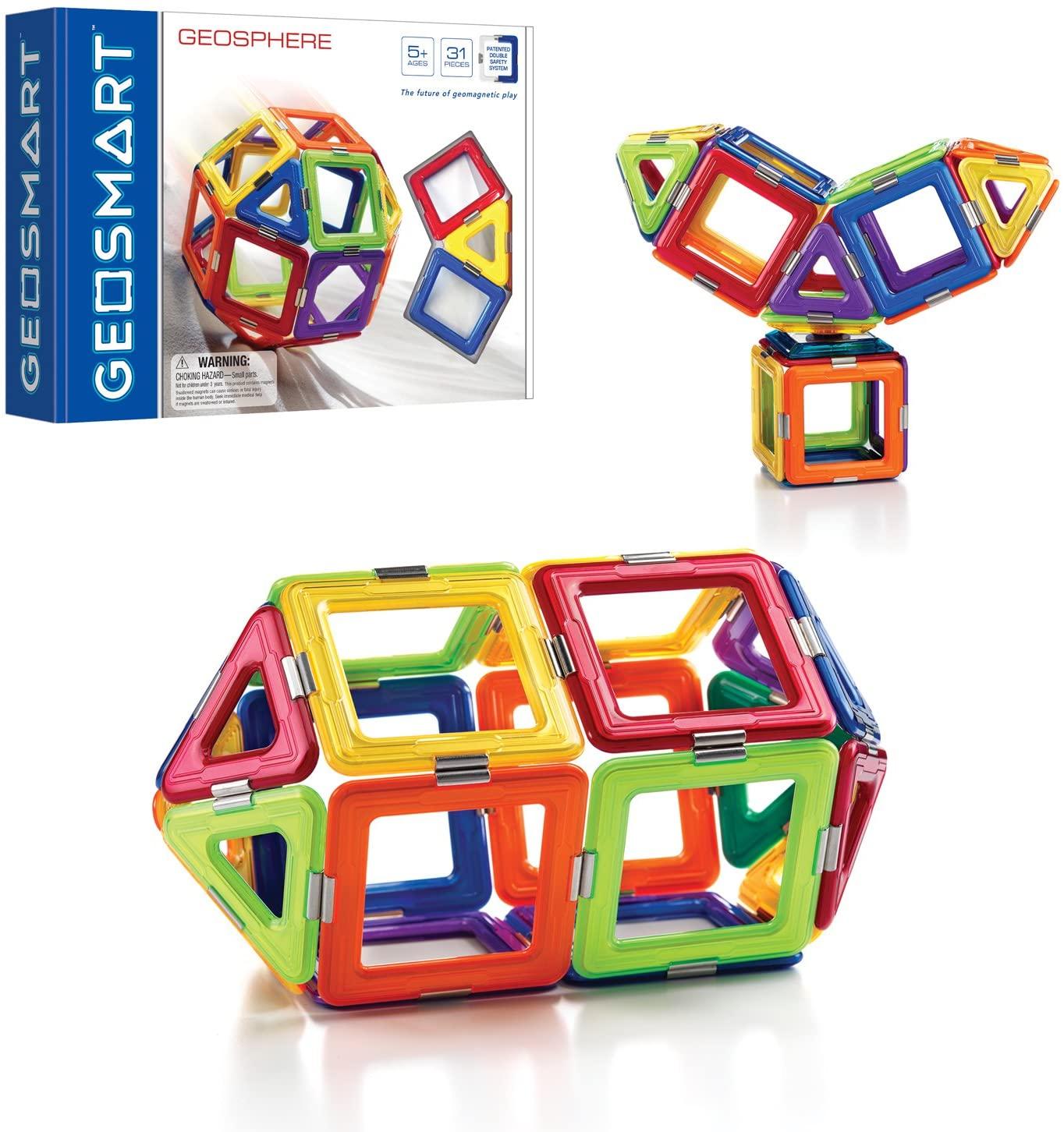 GeoSmart GeoSphere 31-Piece GeoMagnetic STEM Building Set with Spinner