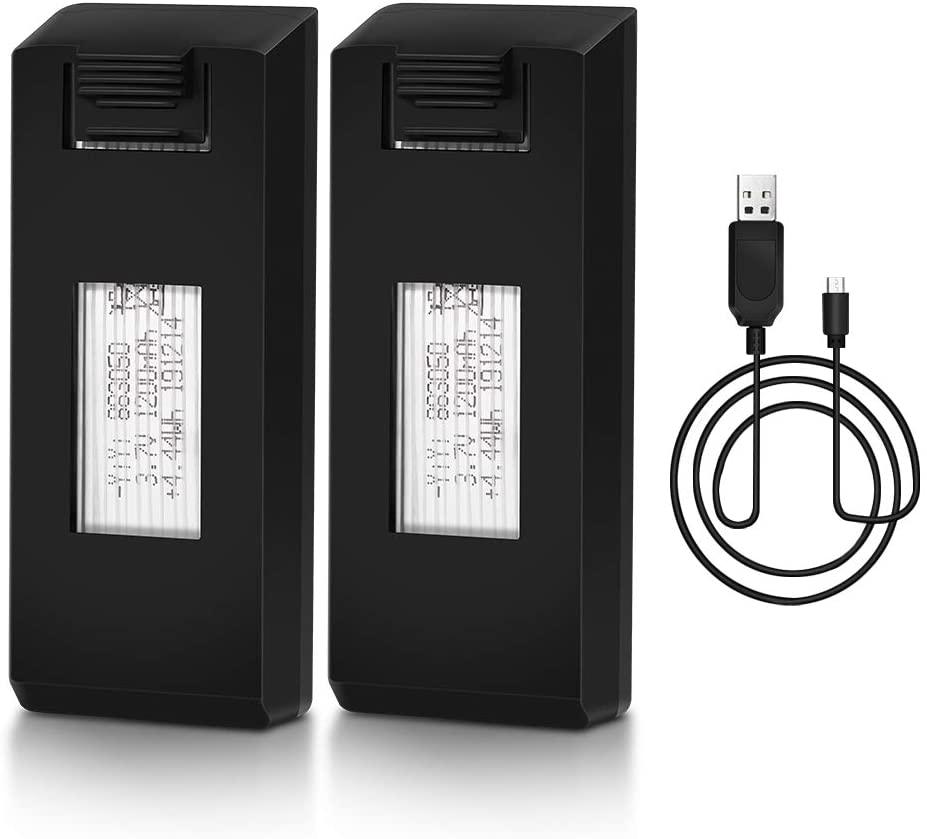 NEHEME NH525 Foldable RC FPV Drone Battery, 2 Pcs 3.7V 1200mAh Modular Rechargeable Li-po Batteries with Charging Cable