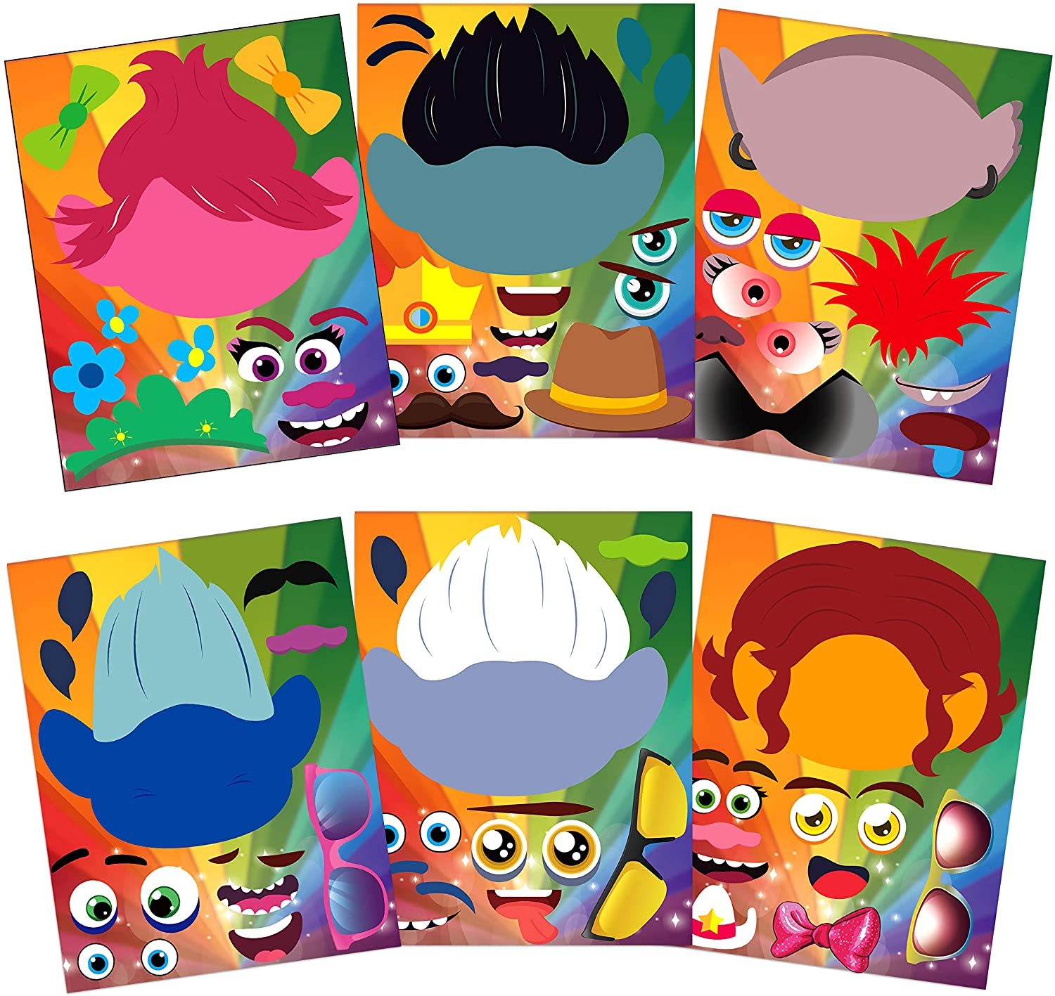ANGOLIO 36Pcs Trolls Make a Face Stickers for Kids, DIY Poppy Face Sticker Fun DIY Project Kids Craft Game Trolls World Tour Party Supplies Baby Shower Game Birthday Party Gift Kids Room Decoration