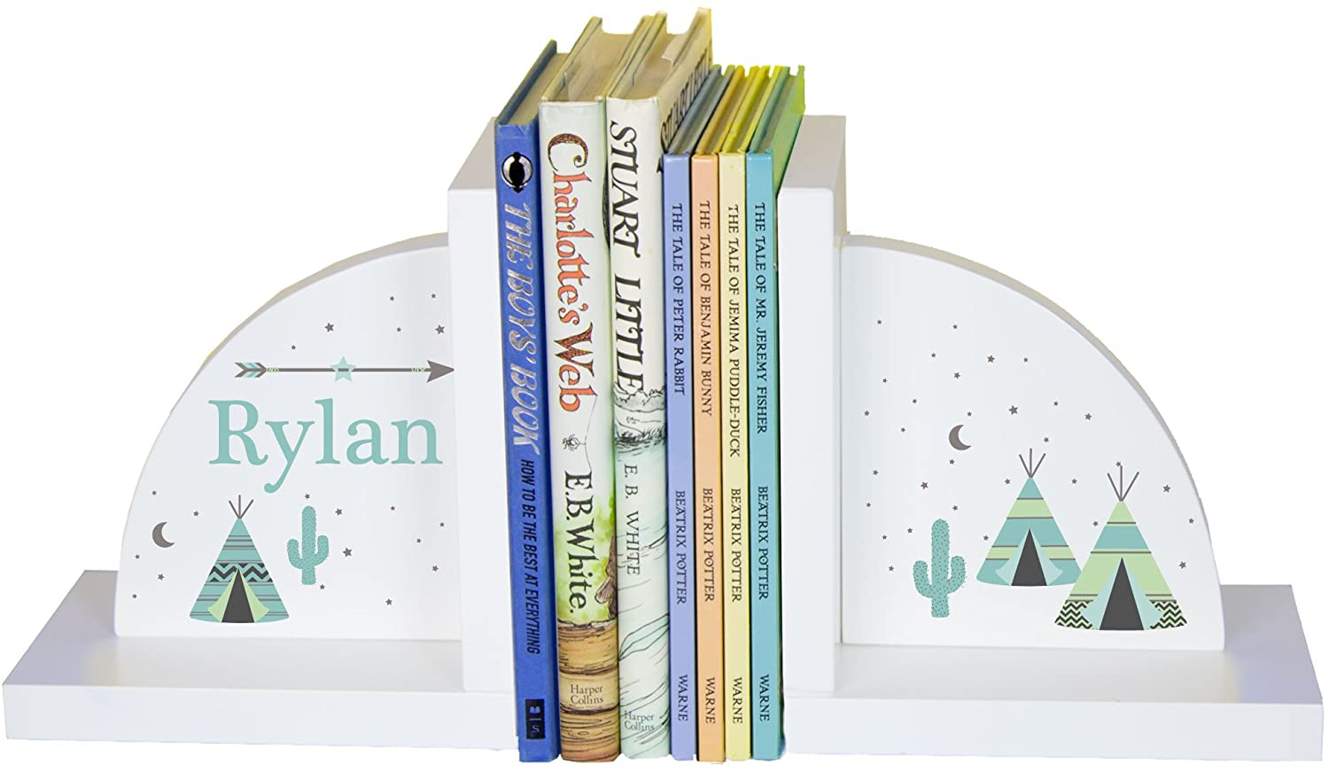 MyBambino Children's Personalized Teepee Bookends - Mint & Gray