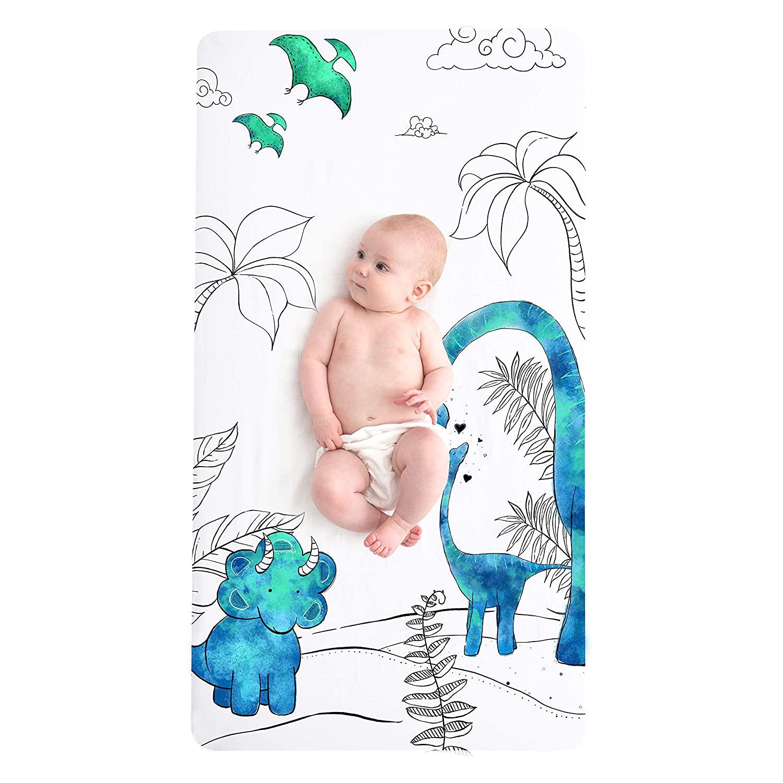 JumpOff Jo Fitted Cotton Crib Sheet - Dinosaur