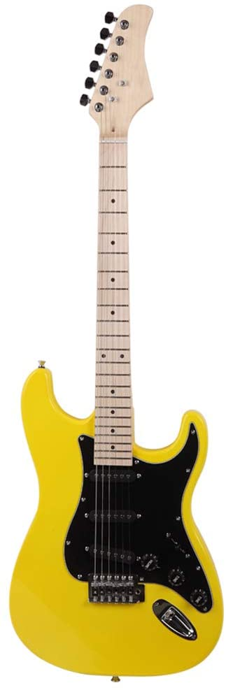 New ST Stylish Electric Guitar with Black Pickguard Green/Yellow Hot (Yellow)