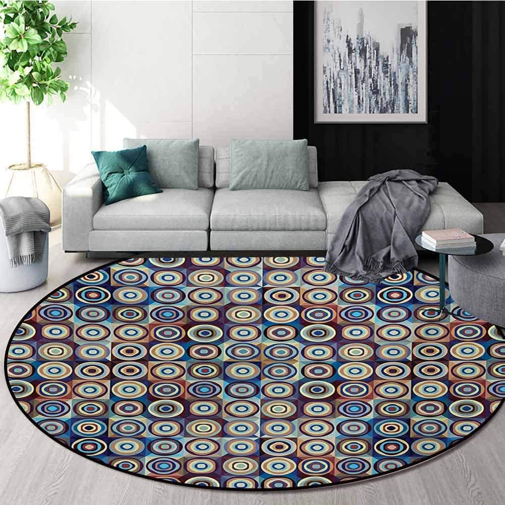 RUGSMAT Geometric Warm Soft Cotton Luxury Plush Baby Rugs,Modern Ring Formed Round Spiral Vortex Circles in Many Tones Work of Art Kids Teepee Tent Game Play House Round,Round-31 Inch
