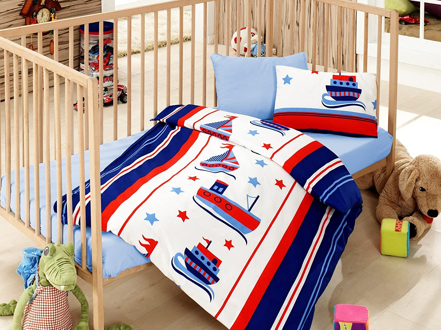 Nautical Baby Bedding, Toddlers Crib Bedding for Baby Boys, 100% Cotton Duvet Cover Set, Baby Comforter Included, 5 Pieces