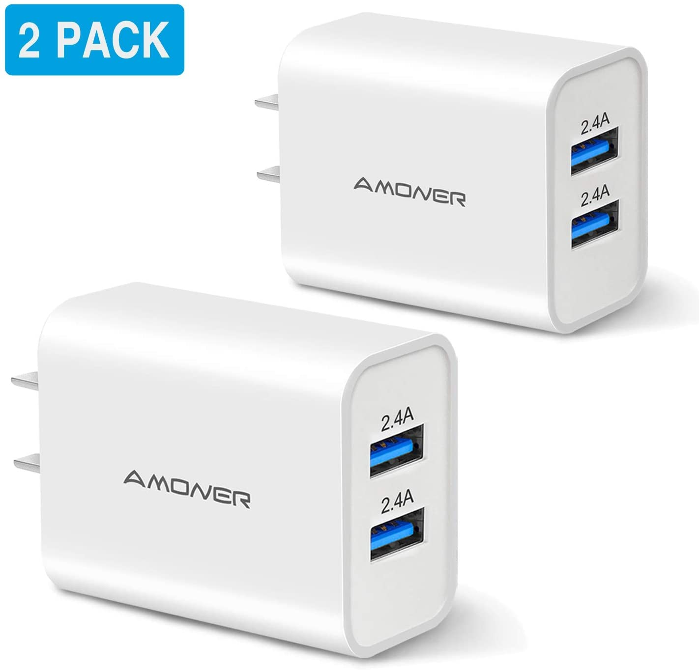Amoner Wall Charger, Upgraded 2Pack 24W 2-Port USB Plug Cube Portable Travel Wall Charger Plug for iPhone Xs/XS Max/XR/X/8/7/6/Plus, iPad Pro/Air 2/Mini 2, Galaxy9/8/7, Note9/8, LG, Nexus and More