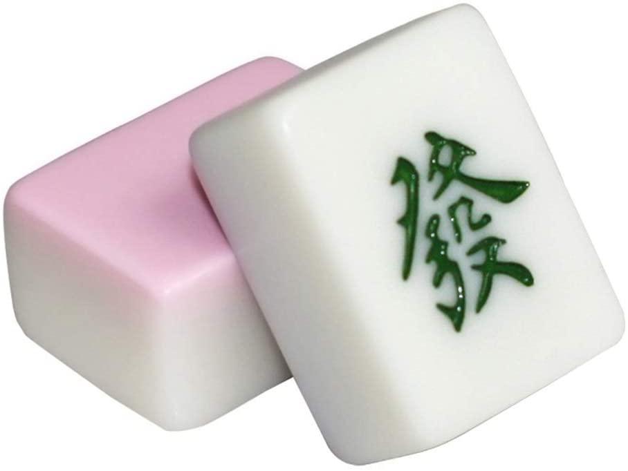 GuanJan Beautifully Mahjong Made of Melamine Material Tile Travel Set Portable Mahjong Travel Mahjong Sets Imitation Jade 40mm Home Mahjong (Color : Pink, Size : 40mm)
