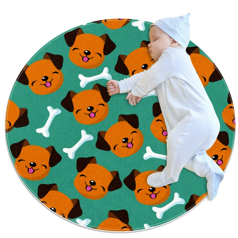 Crawling Mat Puppy Bones Nursery Rug Anti-Slip Baby Rug Small for Baby Infants Toddlers 39.4x39.4in