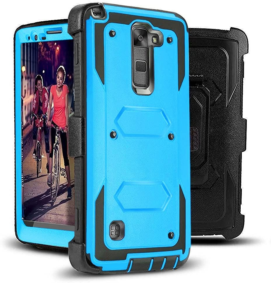 J.west Stylus 2 Plus Case,LG Stylus 2 Case,LG Stylo 2 Case,Rugged Holster Dual Layer Case Kickstand Belt Swivel Clip Hybrid Protective Case Cover for LG Stylus 2 Plus/Stylus 2/G Stylo 2/LS775 Blue