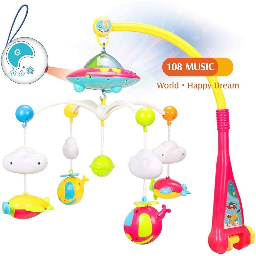 Colorful Star Projection Baby Toy Baby Bed Bell Rattle Music Rotating Early Education Educational Toys, Colourful