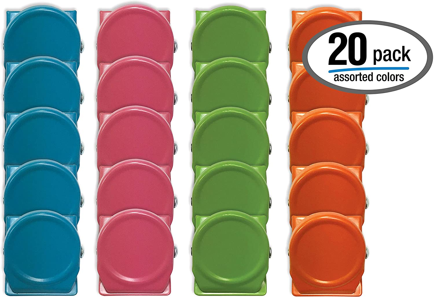 Colored Magnetic Metal Clips, 20 Pack, by Better Office Products, Steel, 1.2 Inch, Assorted Vibrant Colors, 20 Pieces