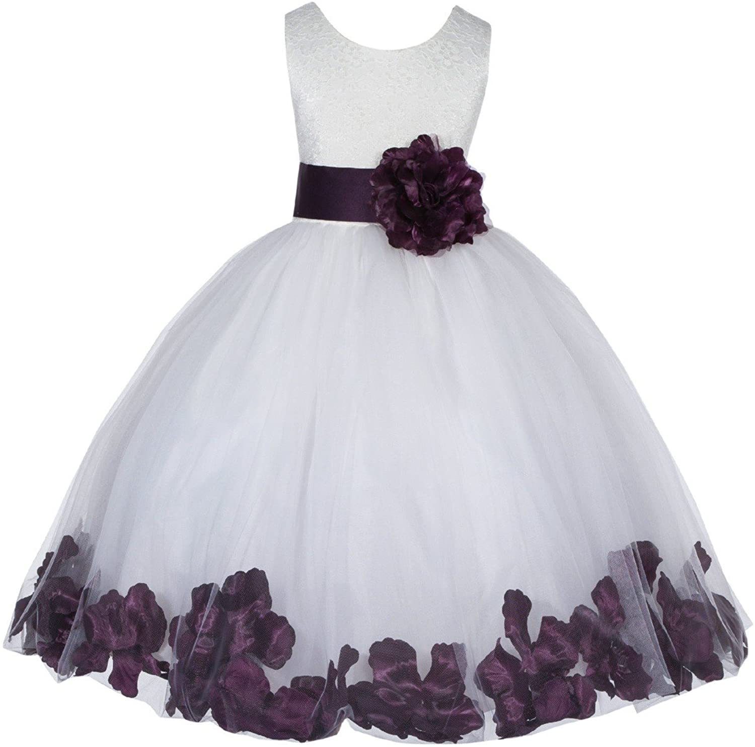 Ivory Lace Top Tulle Floral Petals Flower Girl Dress Christening Dresses 165S