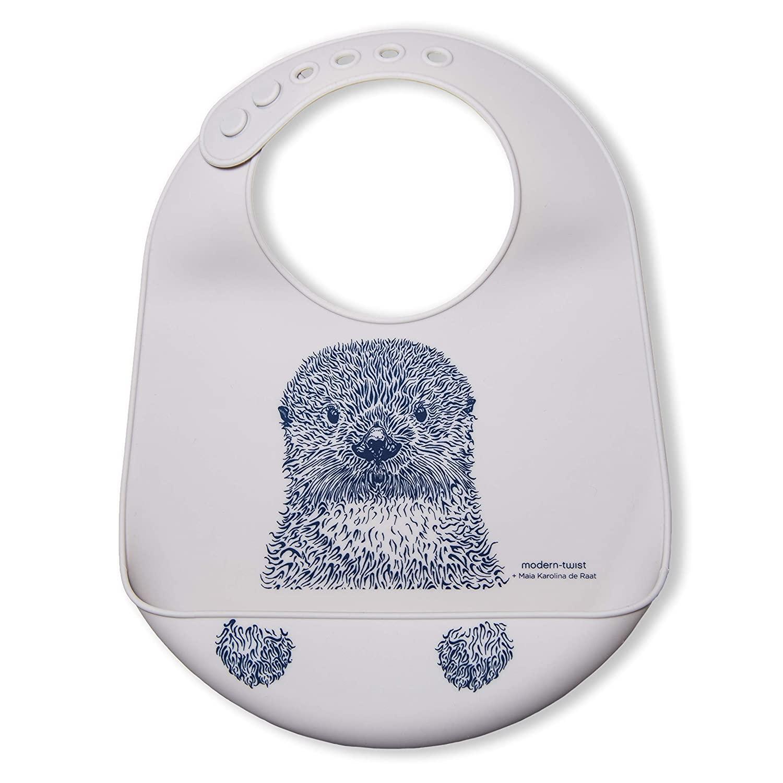 modern-twist Otter Baby Bucket Bib – 100% Plastic Free Silicone, Waterproof, Adjustable, Dishwasher Safe, Fog