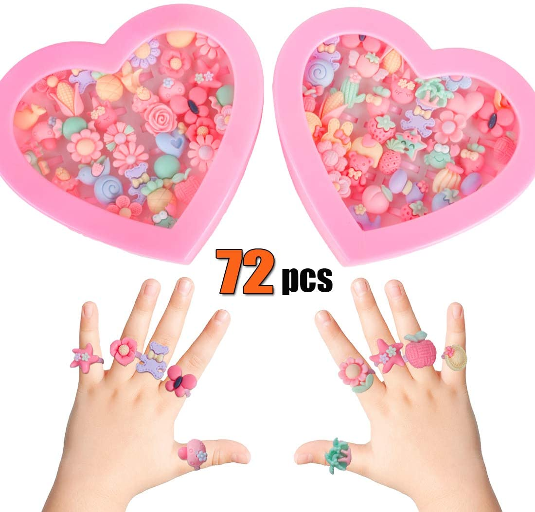 72pcs Kids Rings for Girls, Kids Jewelry for Little girls Toddlers, Girl Pretend Play and Dress up Rings, Little Girls Gift with Heart Shape Box, Top Toys Unique Gifts for 3 4 5 6 7 8 9 Year Old Girls