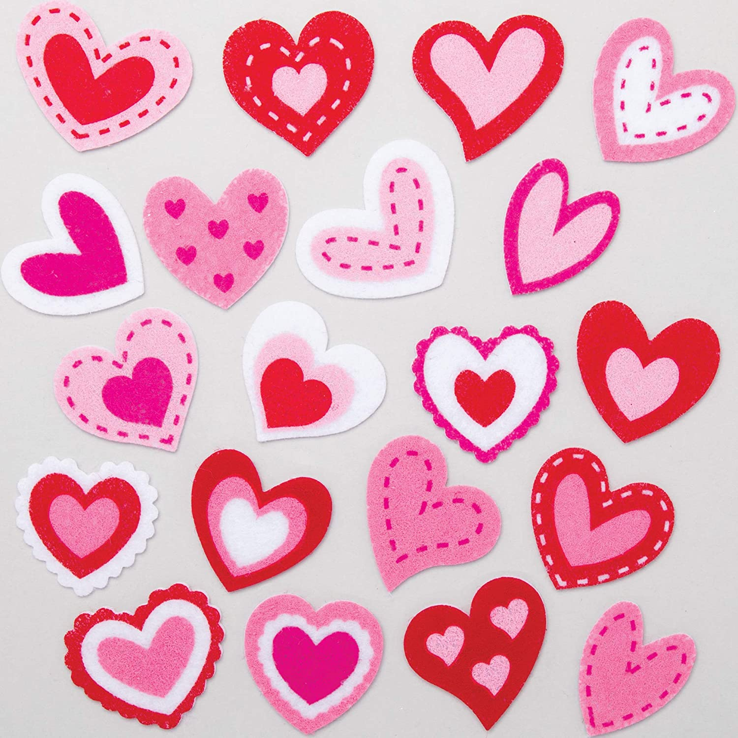 Baker Ross Heart Felt Stickers, Creative Art and Craft Supplies for Kids to Make and Decorate (100 Pack)