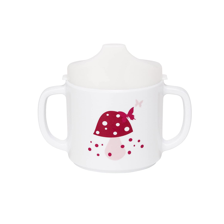 Lassig Baby 2-Handle Cup with Lid & Silicone, Mushroom Magenta