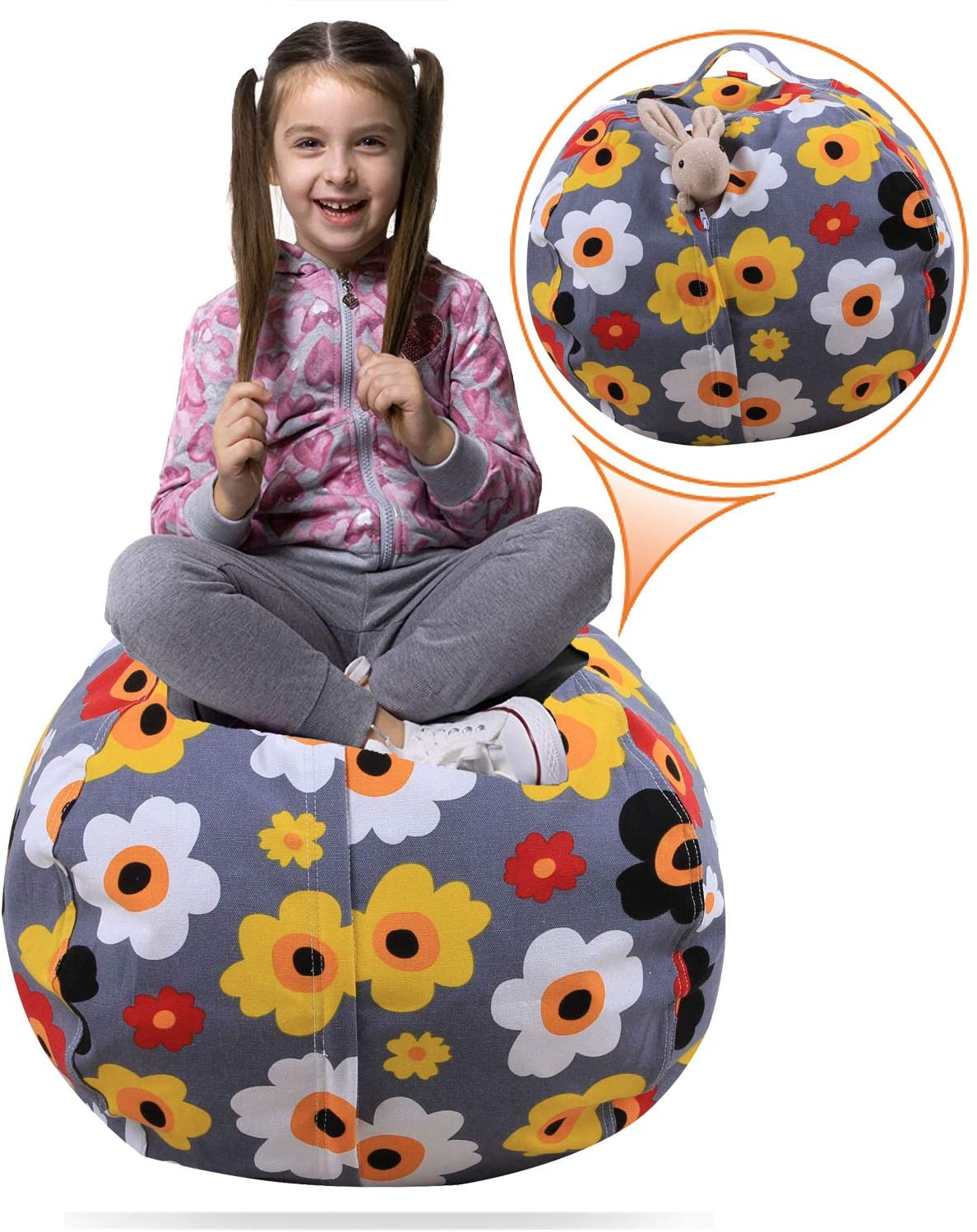 Injoy 24'' Stuffed Animals Bean Bag Chair Cover -100% Cotton Canvas Kids Toy Storage Zipper Bags Organizer Comfy Pouf for Boys Girls Toddlar, Grey with Flowers
