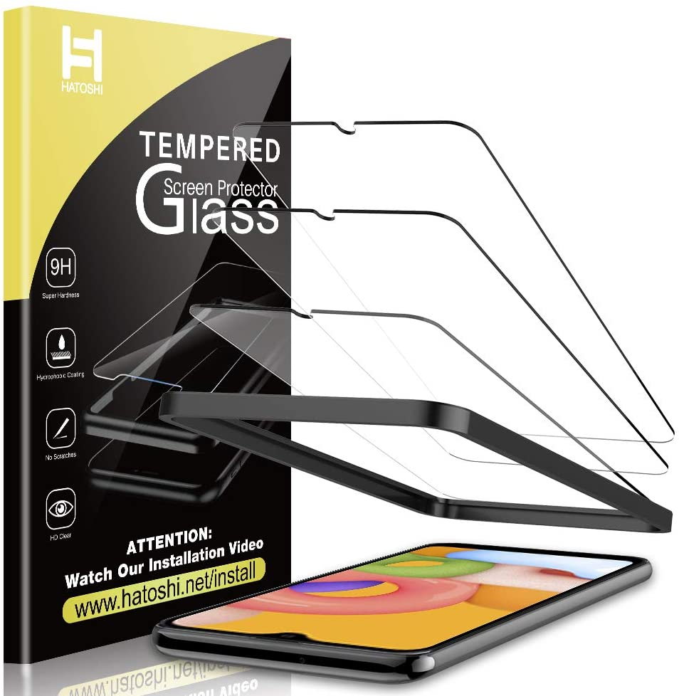 HATOSHI [3 Pack] Screen Protector for Samsung Galaxy A01 Tempered Glass, Alignment Tray Easy Installation [Case Friendly] [Bubble Free] 9H Hardness Glass Screen Protector for Samsung A01 (5.7'')