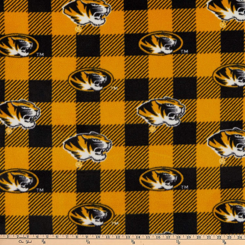 Sykel Enterprises NCAA Missouri Tigers Buffalo Plaid Fleece, Black/Yellow Yard