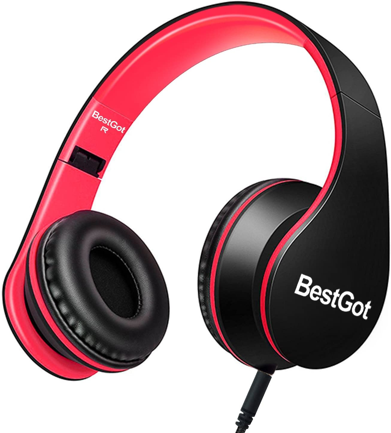 BestGot Kids Headphones for Kids Boys Over Ear Kids Headphones with Microphone in-line Volume with Cloth Bag Foldable Headphones with 3.5mm Plug Removable Cord (Black/Red)