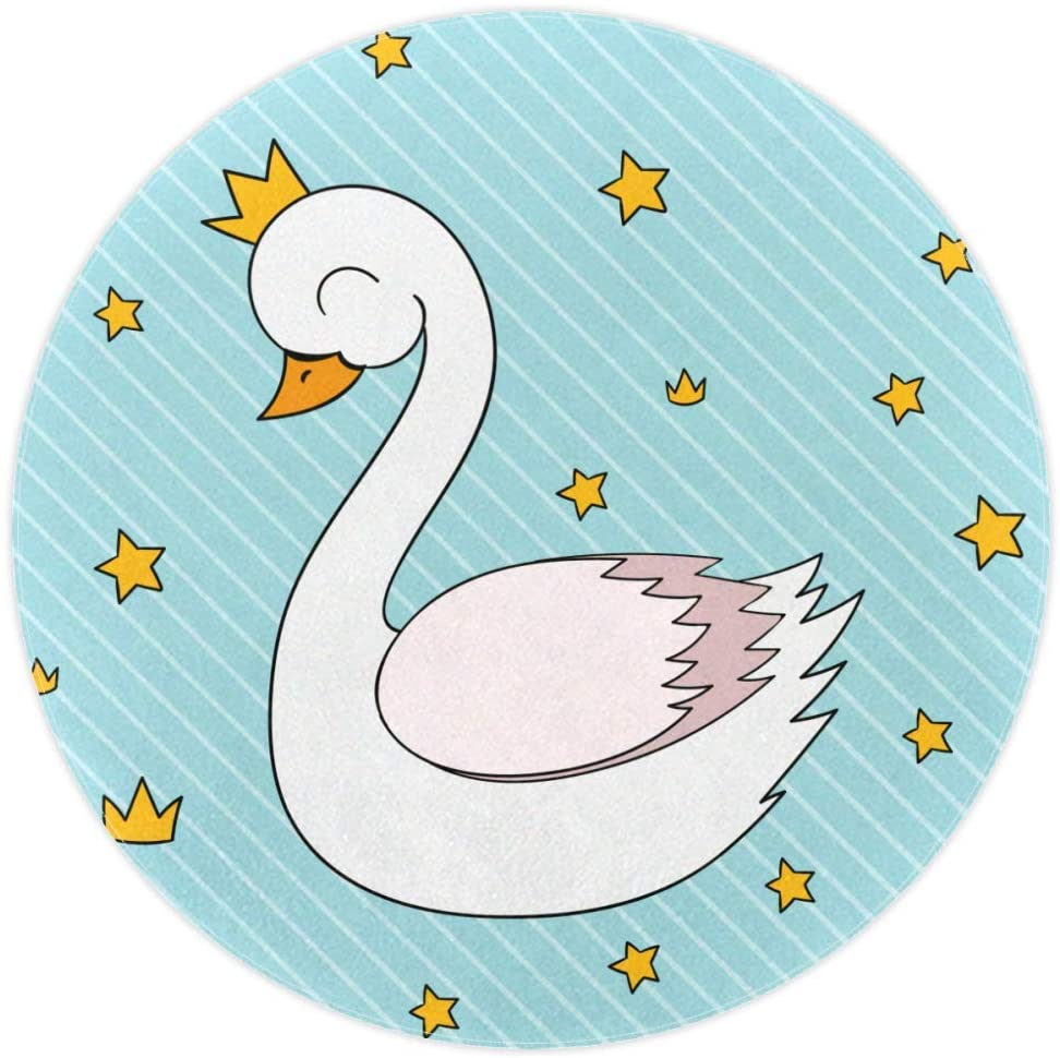 White Swan with Stars Baby Area Rug Round Area Rug Home Decorative Carpet Soft and Washable Pad Non-Slip for Kid's Toddler Infants Room 5feet 2.4inch