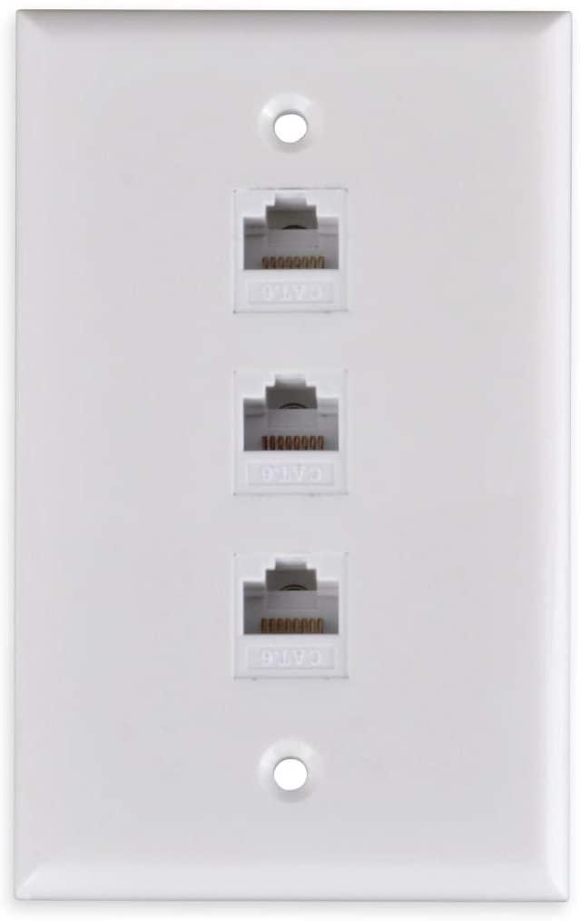 FolioGadgets 3-Port Ethernet Wall Plate with Punch Down RJ45 CAT6 Network Keystone Insert Jacks