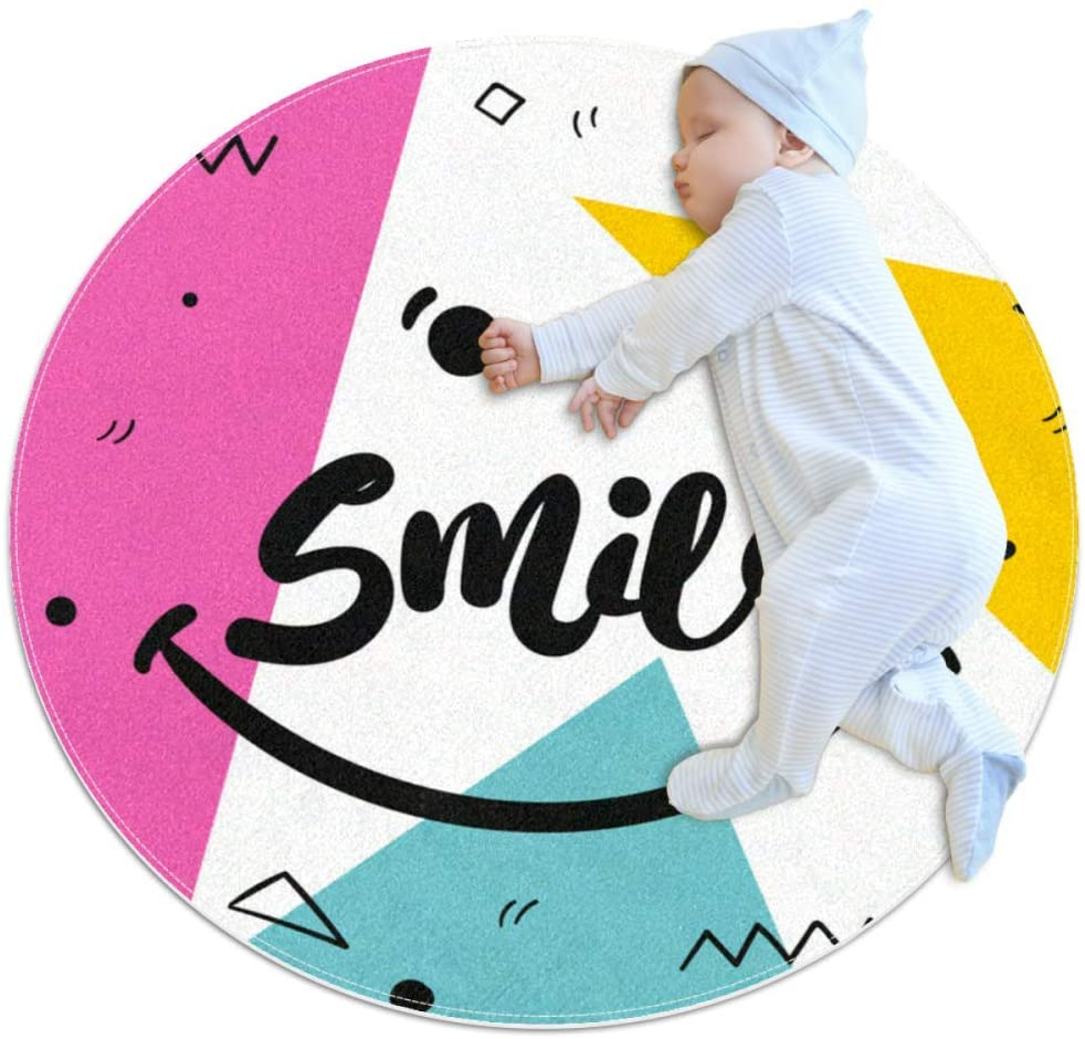 Triangle Geometry Smile Baby Crawling mat Home Decorative Carpet Soft and Washable Pad Non-Slip for Kid's Toddler Infants Room 2feet 3.5inch