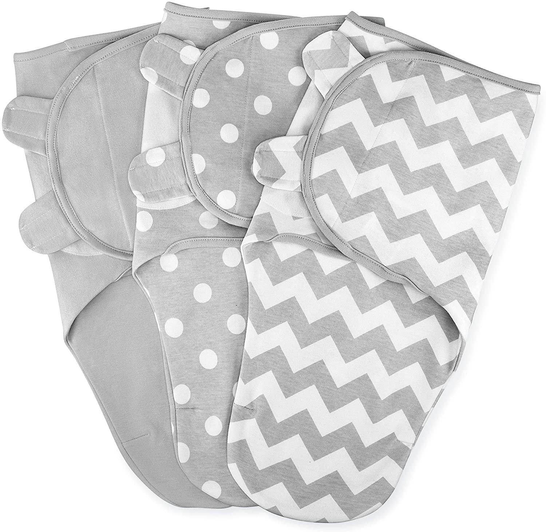 Comfy Cubs Swaddle Blanket Baby Girl Boy Easy Adjustable 3 Pack Infant Sleep Sack Wrap Newborn Babies 0-3 Months Old (Grey, Small-Medium)