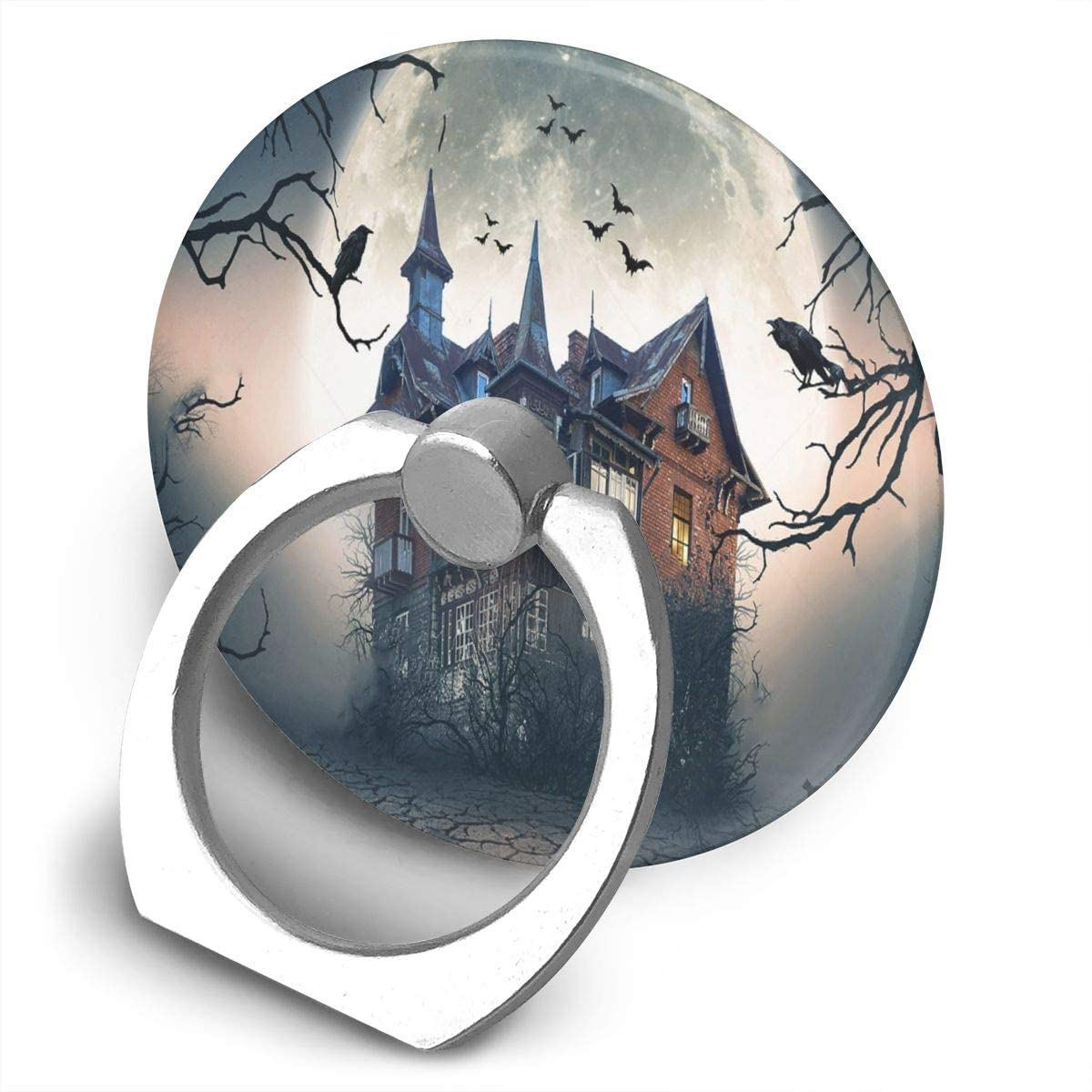 Cell Phone Ring Holder Stand Haunted House with Dark Horror Atmosphere Adjustable 360°Rotation Round Universal Finger Grip Loop Kickstand with Silver Metal Phone Holder for Women Kids Men Ladies Smar