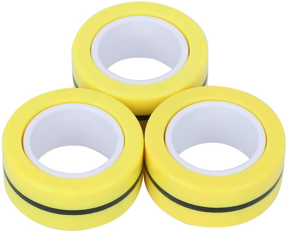 Redxiao Yellow Durable Finger Magnetic Rings, Plastic Finger Trick Props, Home Office Adults for Children