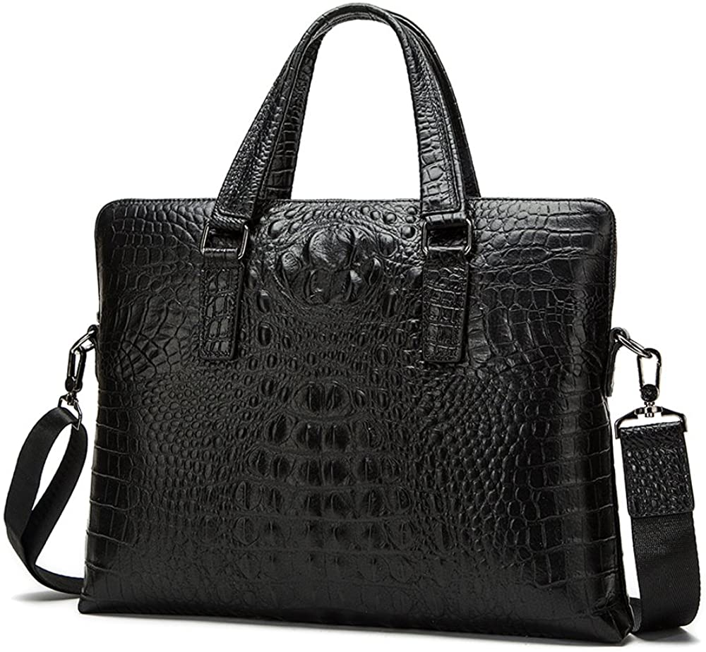 Classic Crocodile Pattern Business Men Briefcase with Waterproof PU Leather