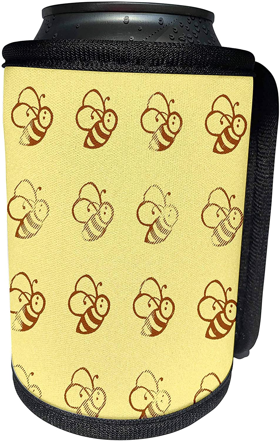 3dRose PS Creations - Yellow and Brown Whimsical Bees - Nature - Summer Fun - Can Cooler Bottle Wrap (cc_54438_1)