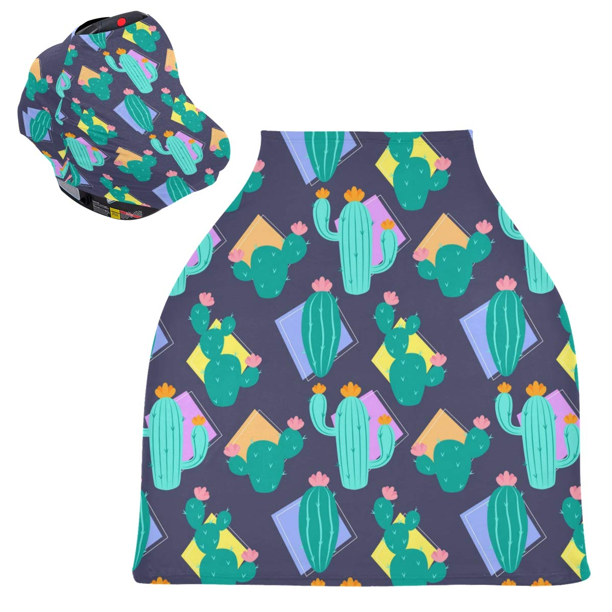Stretchy Baby Car Seat Canopy - Cactus Tropical Infant Stroller Cover Multi Use Carseat Scarf Nursing Cover for Girl