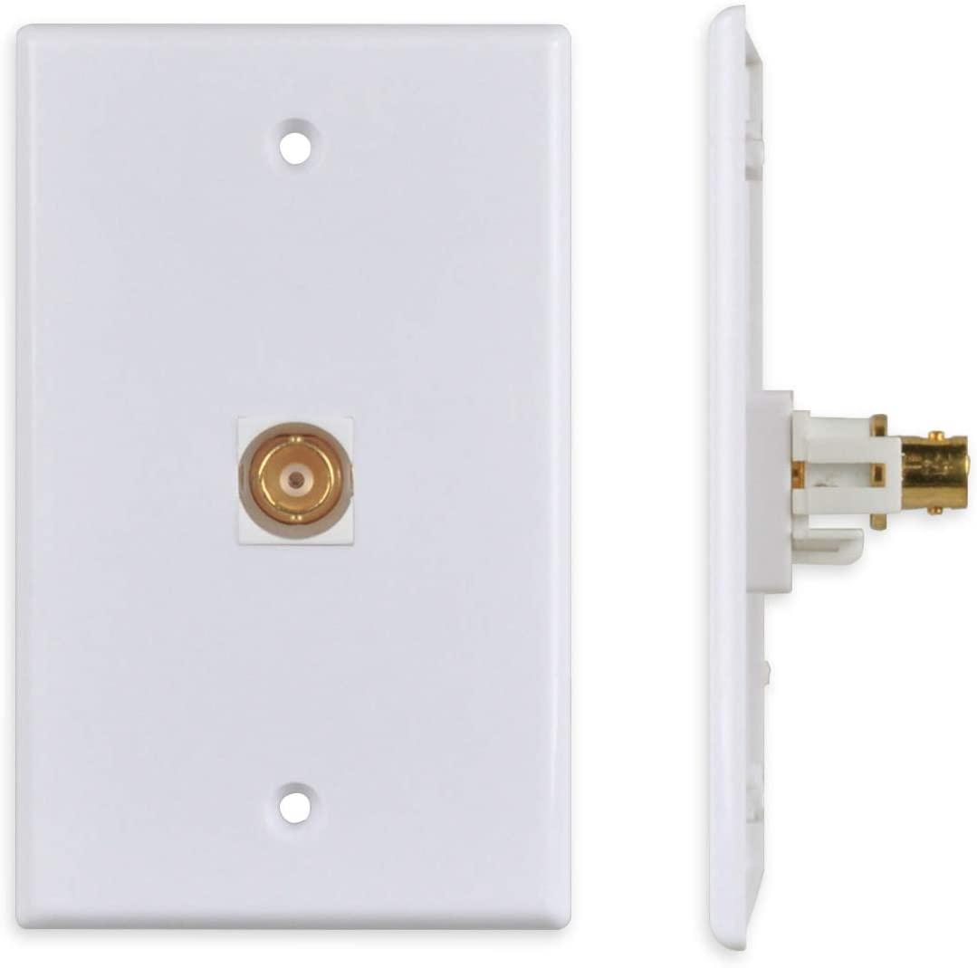 Conwork 1-Port BNC Wall Plate, BNC Keystone Jack Inserts Female to Female CCTV Security Camera Wall Plate White (1-Pack)