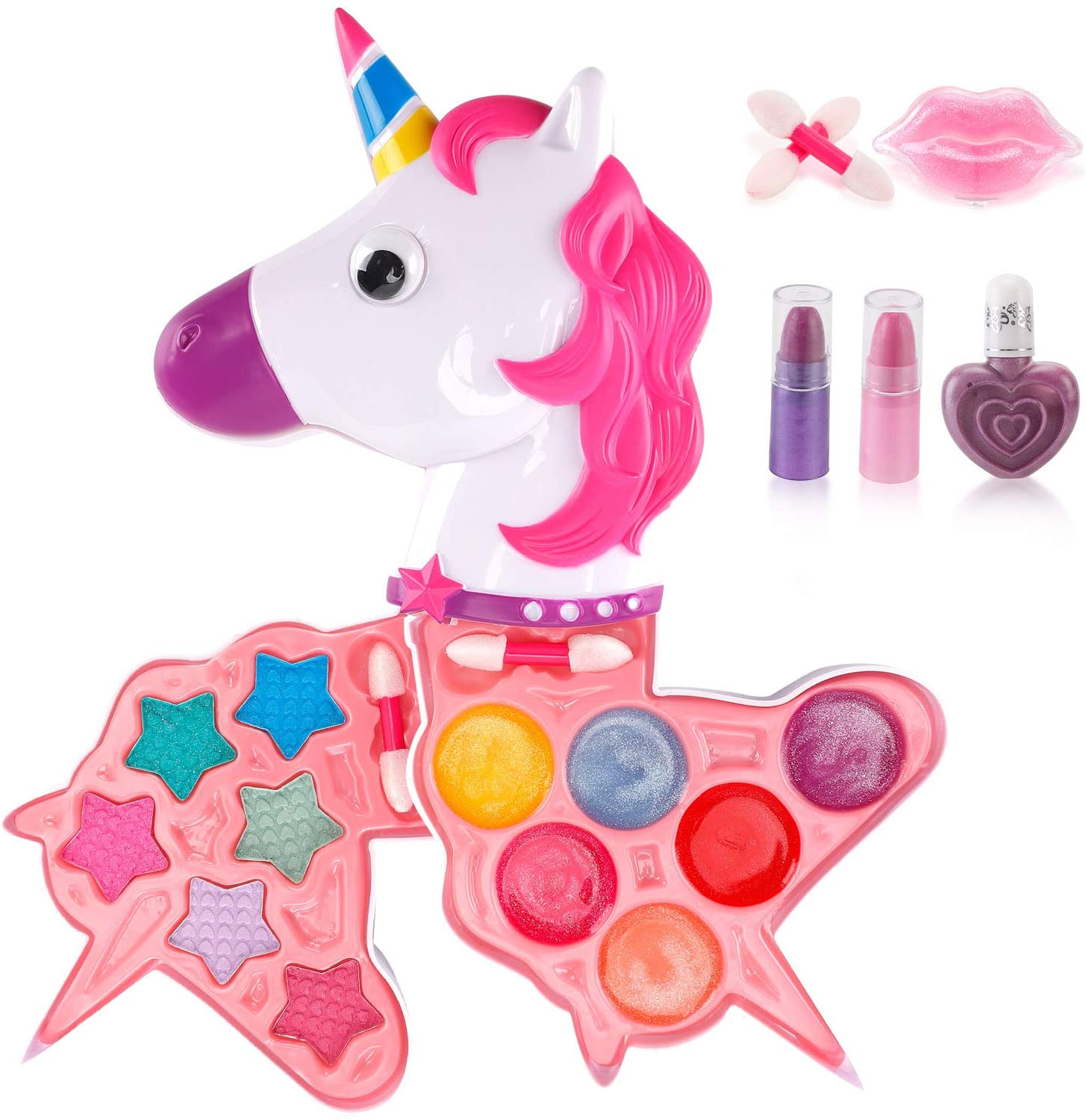 Liberty Imports Petite Girls Cosmetics Play Set - Washable and Non Toxic - Princess Real Makeup Kit with Case - Ideal Gift for Kids (Unicorn)