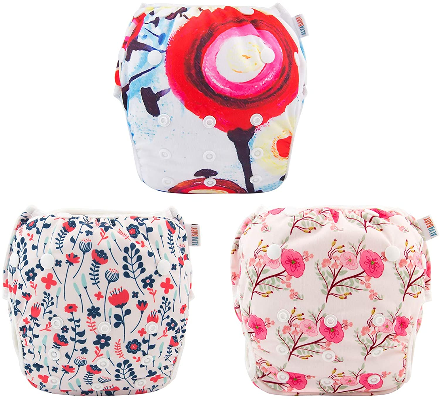 ALVABABY Swim Diapers 3pcs Large Size Reuseable Washable & Adjustable for Swimming Lesson 3ZSW06