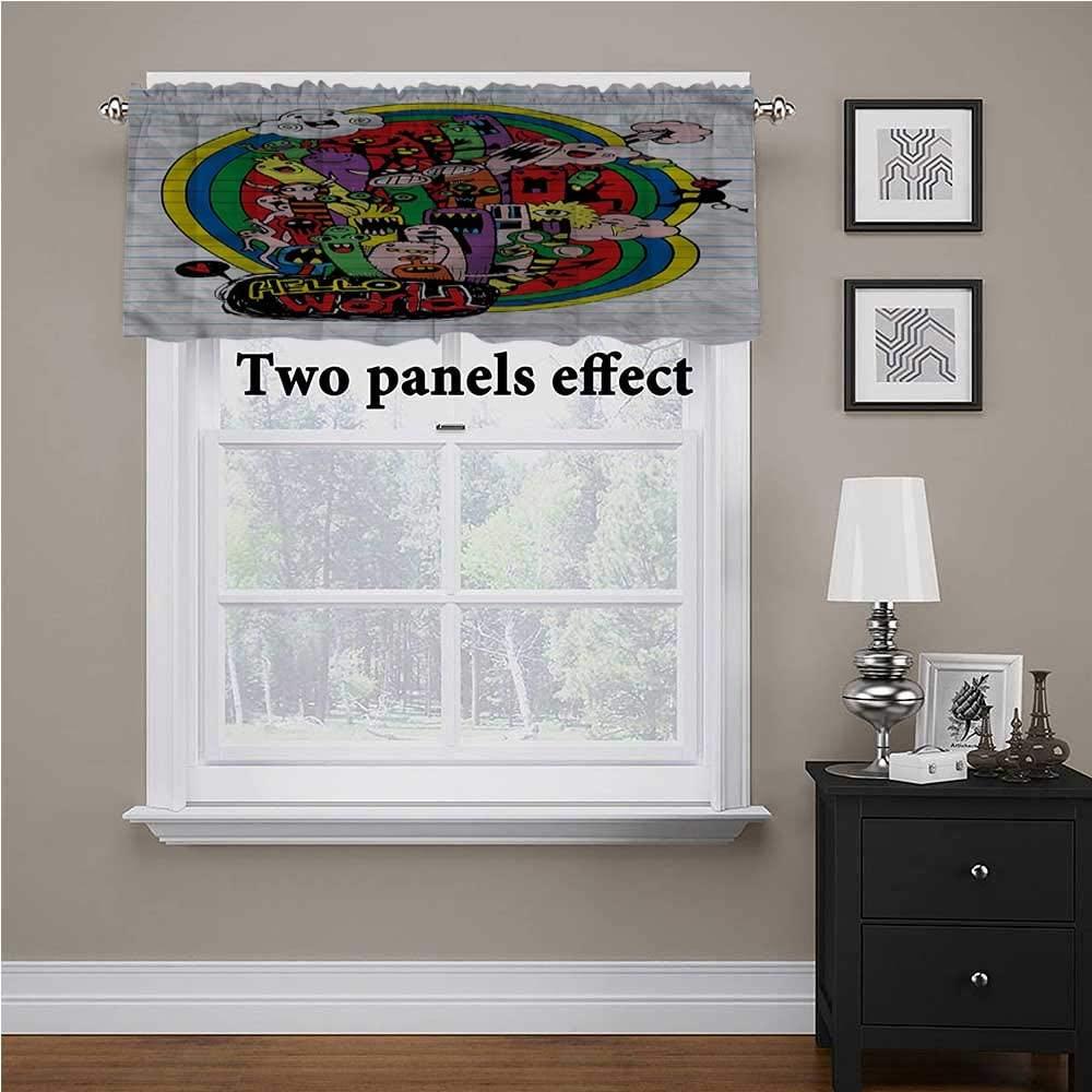 shirlyhome Cartoon Window Treatments Aliens Saying Hello World for Kids Room/Baby Nursery/Dormitory, 42 Inch by 18 Inch 1 Panel