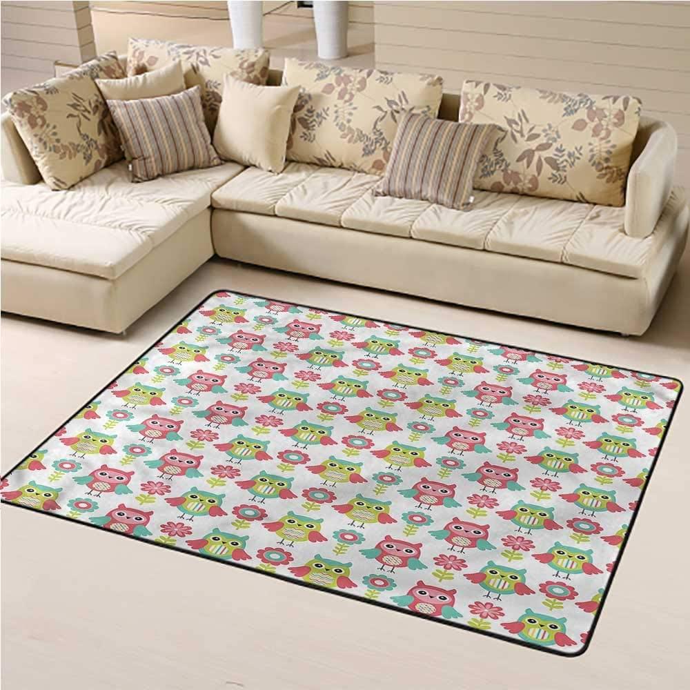 Area Rug Owls, Cartoon Birds and Flowers Art Baby Floor Playmats Crawling Mat Suitable for Living Room and Bedroom Nursery 6 x 9 Feet