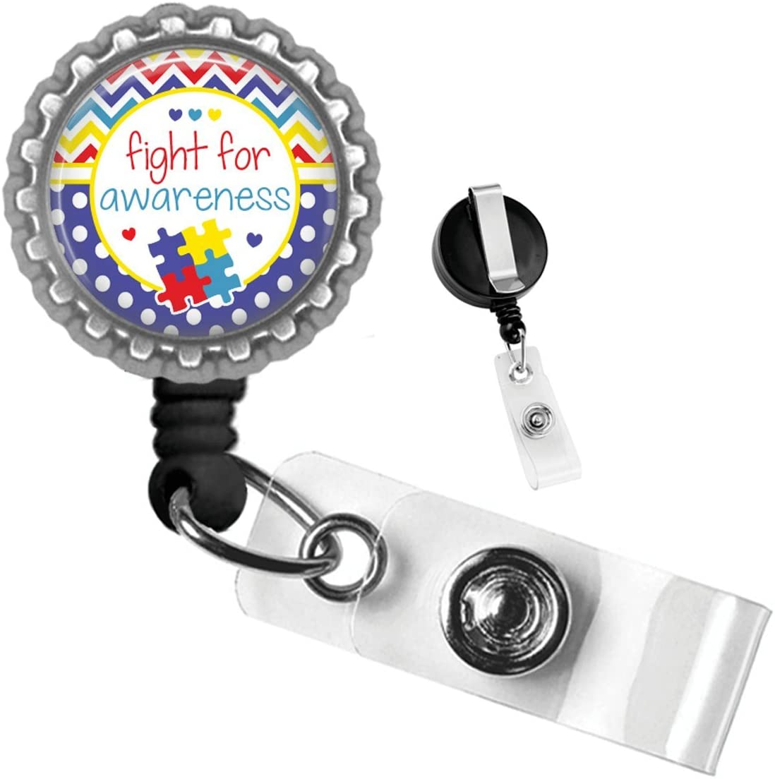 Fight for Autism Awareness Silver Retractable Badge Reel Id Tag Holder by Geek Badges