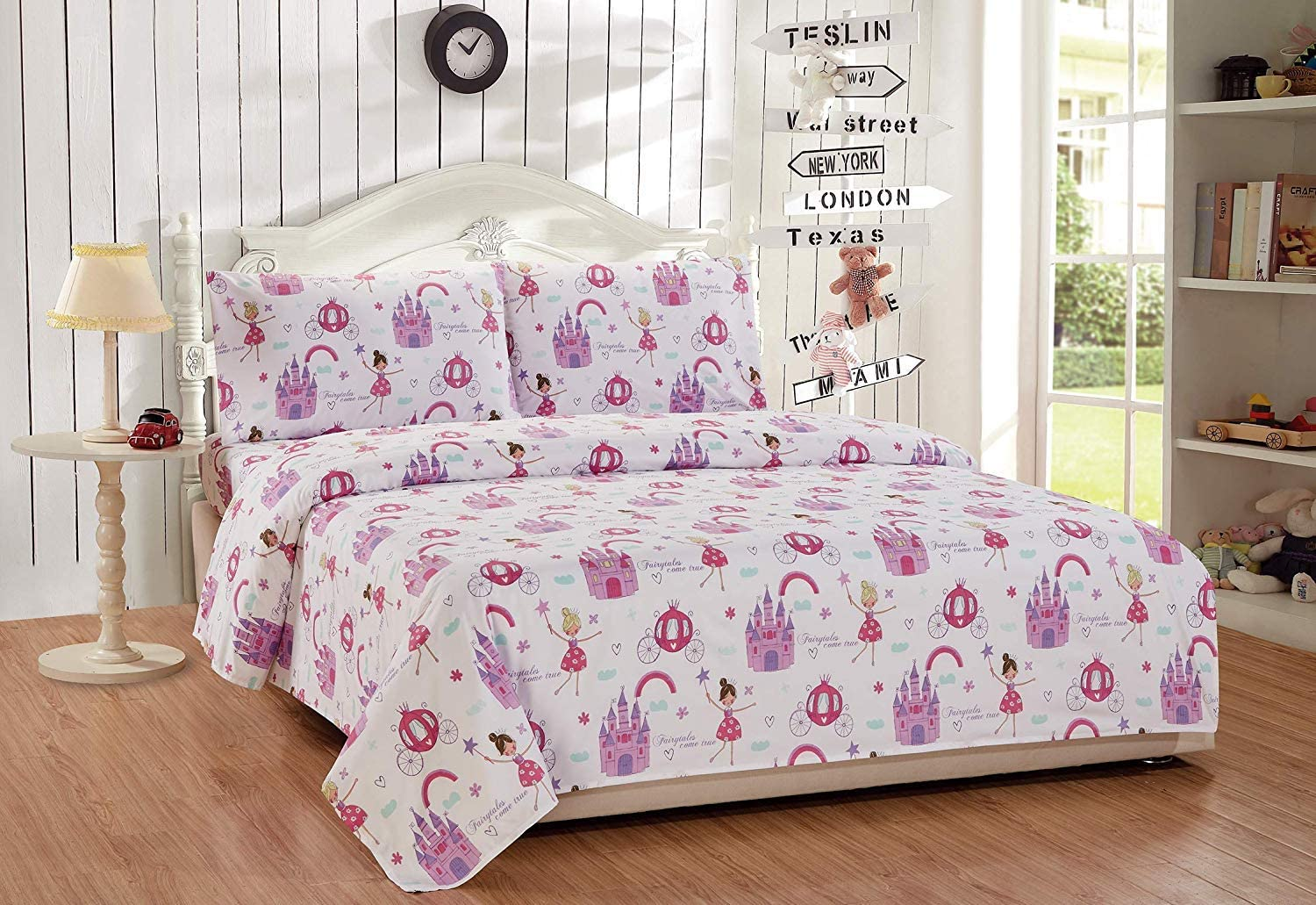 Kids Zone 3 Piece Twin Size Sheet Set for Girls/Teens Fairy-Tales Princess Castle Carriage White Pink Lavender New