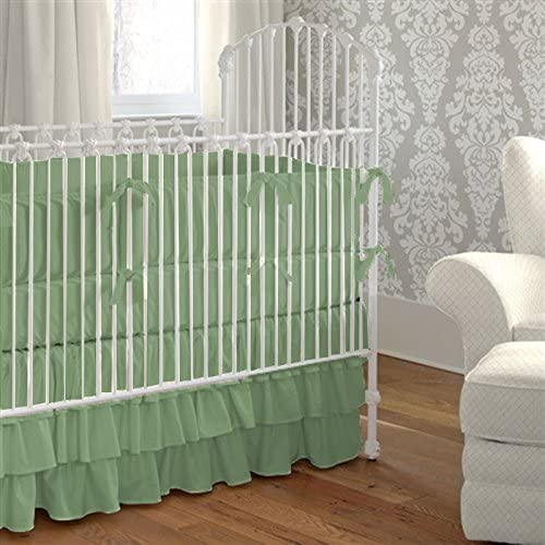 Baby Mini Crib Bedding Set 100% Egyptian Cotton 600 TC- 5-Piece Set Fitted Sheet, Ruffle Skirt,Comforter,Bumper,Pillowcase- Mini Crib