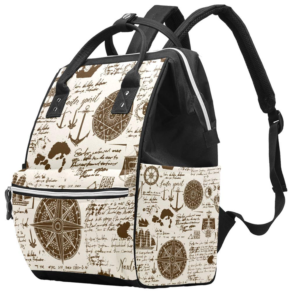LORVIES Abstract Old Manuscript Rose Anchors Vintage Pattern Diaper Bag Backpack, Large Capacity Muti-Function Travel Backpack
