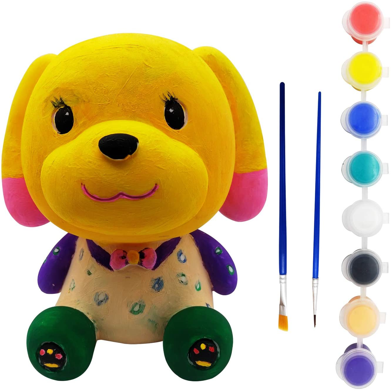 LUCUNSTAR Diamond Oil Painting Kits Money Bank for Girls Dog Paint Your Own Coin Bank for Kids