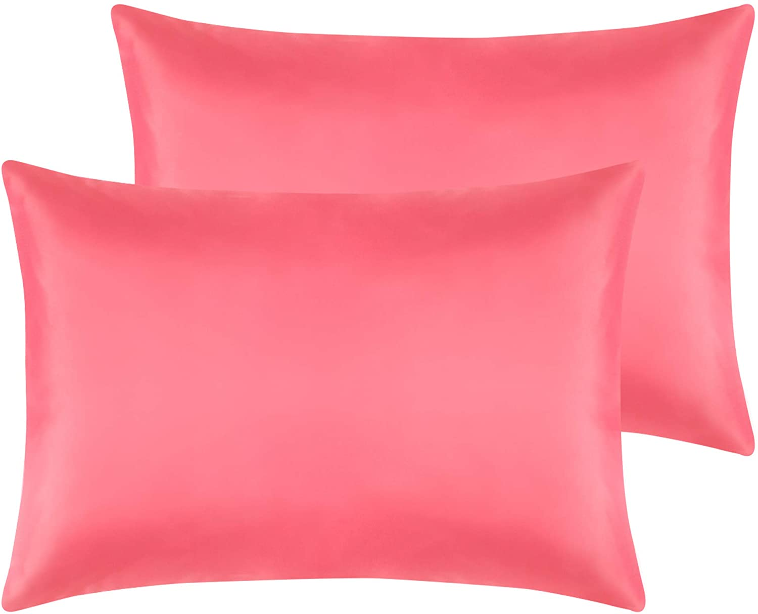 NTBAY Zippered Satin Toddler Pillowcases, 2 Pack Super Soft and Luxury Travel Pillow Cases, 13 x 18 Inches, Coral Pink