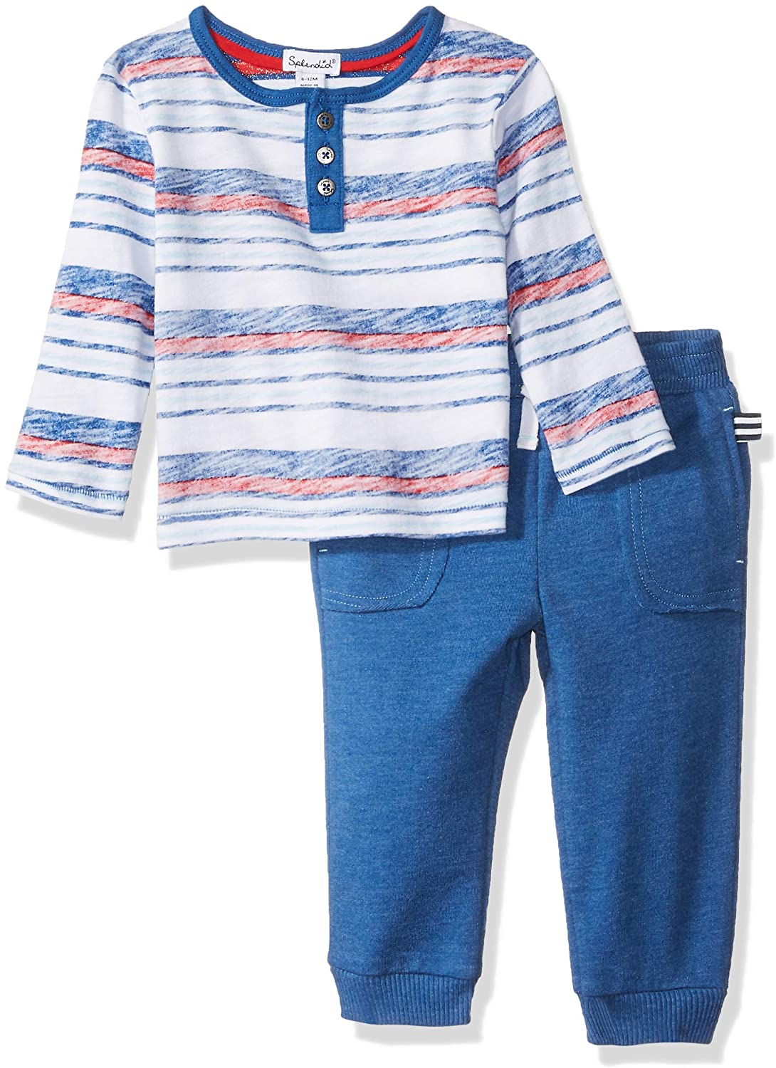 Splendid Toddler Boys' Kids and Baby Long Sleeve Top and Bottom 2 Piece Set, Vertical Blue, 3T