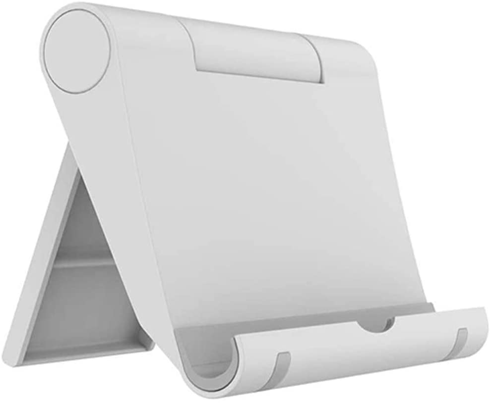 Listar Cell Phone Stand for Desk Foldable, Desk Phone Holder Stand for Office Kitchen Travel, Mobile Phone Stand for iPhone Stand Phone Dock Cradle Compatible with iPad Switch, All Smartphone (White)