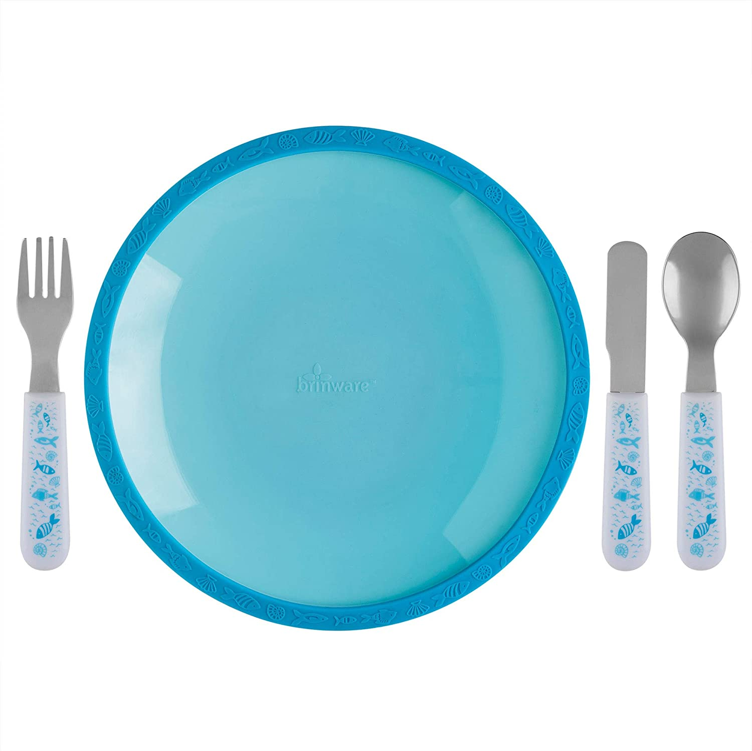 Brinware Tempered Glass and Silicone Plates for Toddlers - Grip Dish with Stainless Steel Utensils (5 Piece) Set Kids Dinnerware Non-Toxic Plate, Spoon, Fork, and Knife Place Setting (Blue)