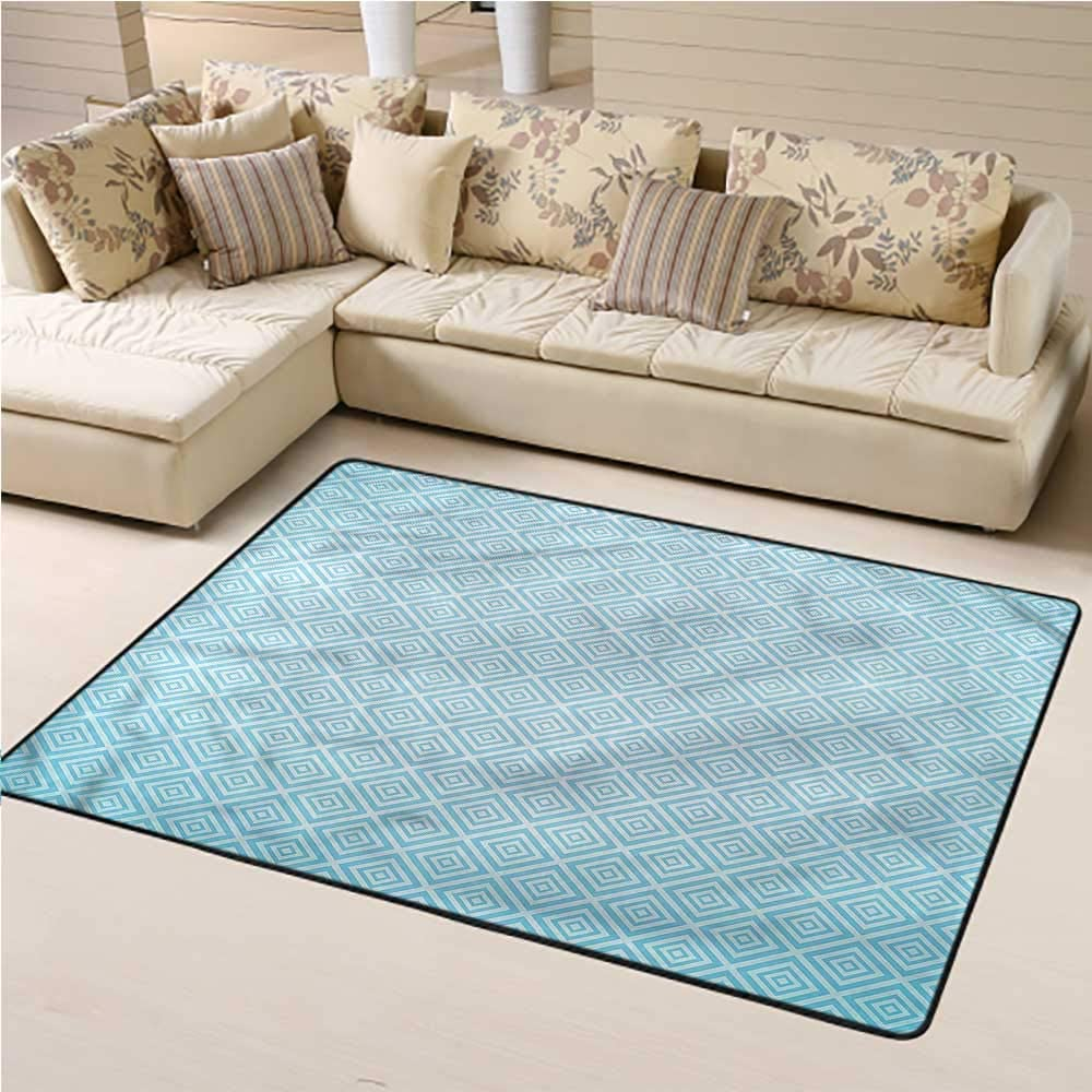 Carpet Pale Blue, Diagonal Nested Squares Baby Crawling Mat for Kids Nursery 3 x 5 Feet